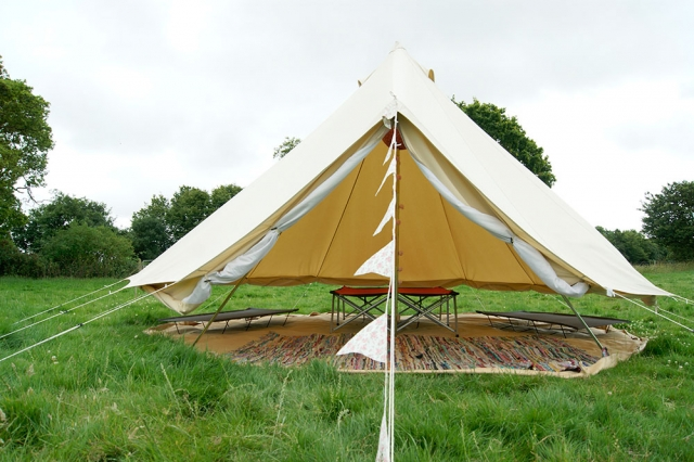 tent with side walls rolled up