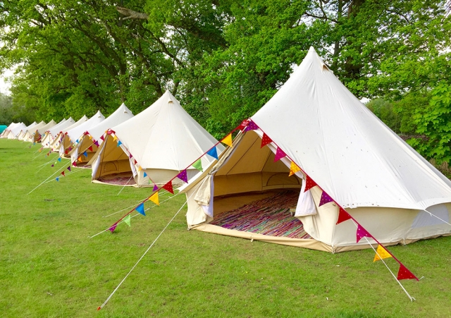 tents in a line