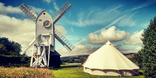 Tent at Jack and Jill Windmill Sussex